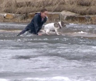 Duncan McIver raced into an icy pond to save his dog, Cosmo.
