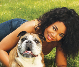 Regina Hall with Dog Zeus
