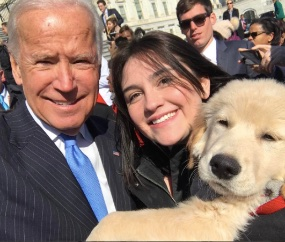 Former Vice President Joe Biden met an adorable puppy named Biden on Wednesday.